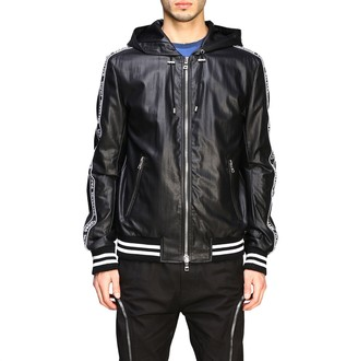 Balmain Jacket Hooded Bomber In Synthetic Leather With Logoed Bands