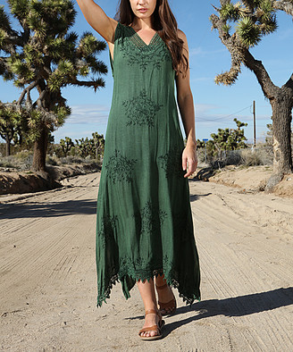 Ananda's Collection Women's Casual Dresses dark - Dark Green Embroidered Lace Maxi Dress - Women