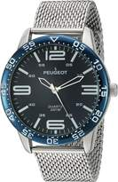 Peugeot Men's 'Mesh' Quartz Metal and Stainless Steel Aviator Watch, Color:Silver-Toned (Model: 2049SL)