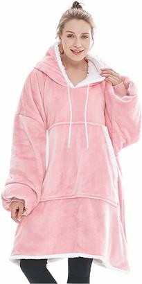 Lushforest Oversized Hoodie Sweatshirt BlanketWearable Sherpa Fleece Pullover with Front Pocket Super Soft Warm Cozy Throw One Size for Men Women Teens (Pink)
