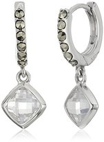 "Judith Jack Abalone Paradise"" Sterling Silver Marcasite and Crystal Hoop Drop Earrings"