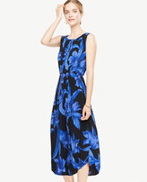Ann Taylor Petite Tropical Garden Pleated Midi Dress