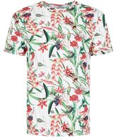 Topman White Digital Floral Print Slim Fit T-Shirt