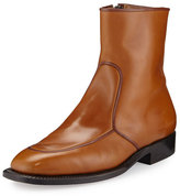 The Row Brando Flat Leather Ankle Boot, Caramel