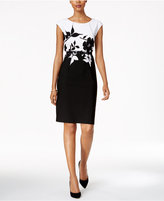 Connected Petite Belted Contrast Floral Sheath Dress