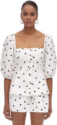 Ganni Polka Dots Cotton Poplin Shirt