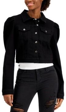 Tinseltown Juniors' Puff-Sleeve Denim Jacket