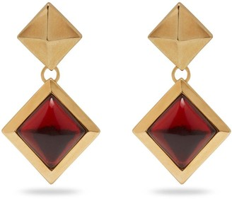 Mulberry Pyramid Pendant Earring Gold and Red Brass Metal and Enamel