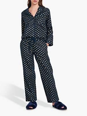 Hush Gold Star Flannel Pyjama Set, Midnight/Gold