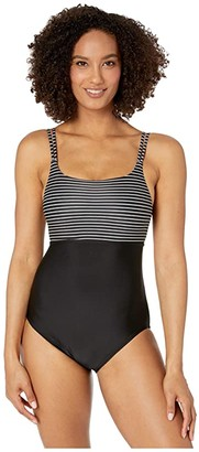 Speedo Double Strap One-Piece Black) Women's Swimsuits One Piece