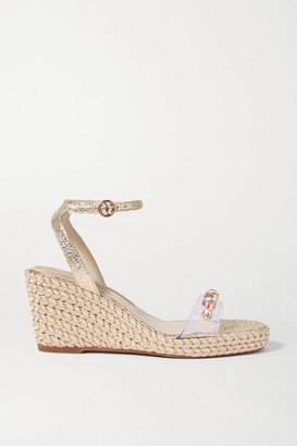 Sophia Webster Dina Embellished Metallic Textured-leather And Pvc Wedge Sandals - Gold