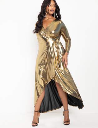 Metallic Wrap Maxi Dress