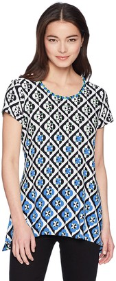 Ruby Rd. Women's Petite Size Printed 3/4 Sleeve Knit Tunic Top