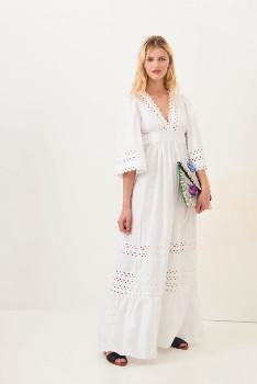 Antik Batik White Malia Poplin Maxi Dress - S .