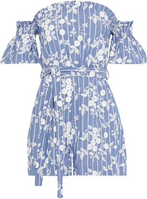 Nicholas Off-the-shoulder Embroidered Pinstriped Cotton-blend Playsuit