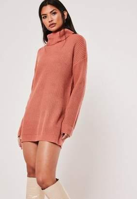 Missguided Terracotta Turtle Neck Basic Sweater Dress