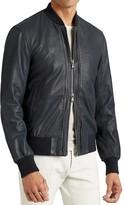 John Varvatos Double Zip Leather Bomber Jacket