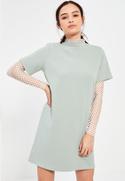 Missguided Petite Sage Green Scuba T-Shirt Dress