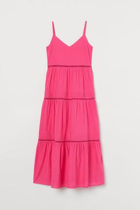 H&M V-neck Cotton Dress - Pink