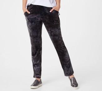 Logo by Lori Goldstein LOGO Lounge by Lori Goldstein Petite Tie-Dye Velour Straight Leg Trouser