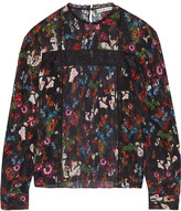 Alice + Olivia Angeline lace-trimmed printed silk-blend blouse
