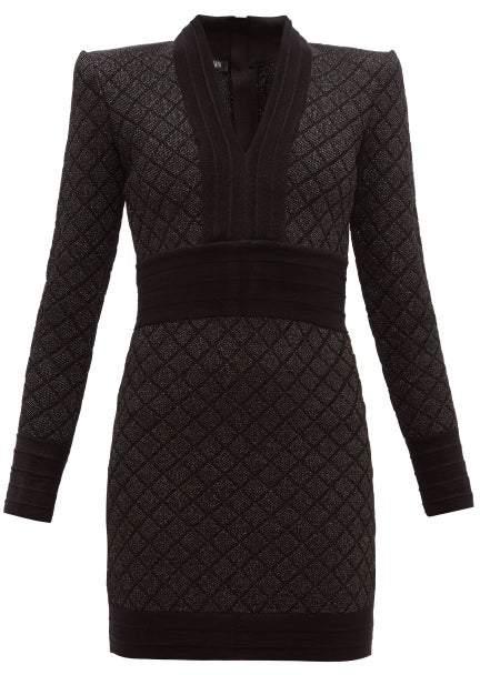 Balmain Metallic Jacquard Knit Mini Dress - Womens - Black Silver
