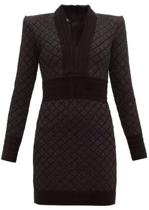 Balmain Metallic Jacquard-knit Mini Dress - Womens - Black Silver