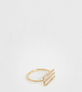 Galleria Amadoro Galleria Armadoro gold plated crystal pave M initial ring