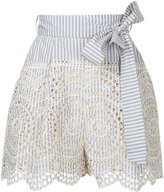 Zimmermann striped broderie anglaise shorts - women - Cotton - 2