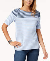 Karen Scott Petite Striped Cotton Boatneck Top, Created for Macy's