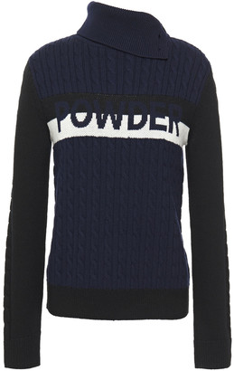 Perfect Moment Cable-knit Merino Wool Turtleneck Sweater
