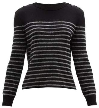 Saint Laurent Metallic-stripe Cotton-blend Sweater - Womens - Black Silver