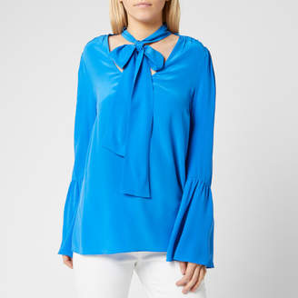 MICHAEL Michael Kors Women's Bell Sleeve Silk Top - Grecian Blue - S - Blue
