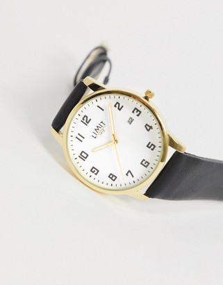 Limit Faux leather watch in black with gold case