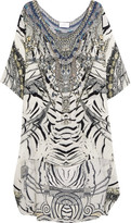 Camilla Chinese Whispers Embellished Printed Silk Crepe De Chine Dress - White