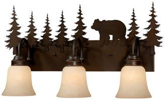 Vaxcel Bozeman 3 Light Bronze Rustic Bear Bathroom Vanity Fixture