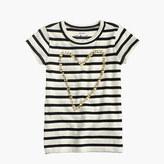 J.Crew Girls' gold heart striped T-shirt