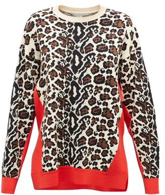 Stella McCartney Contrast-trim Leopard-jacquard Sweater - Womens - Red Multi