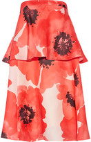 Lela Rose Tiered Floral-print Silk-gazar Dress - Papaya