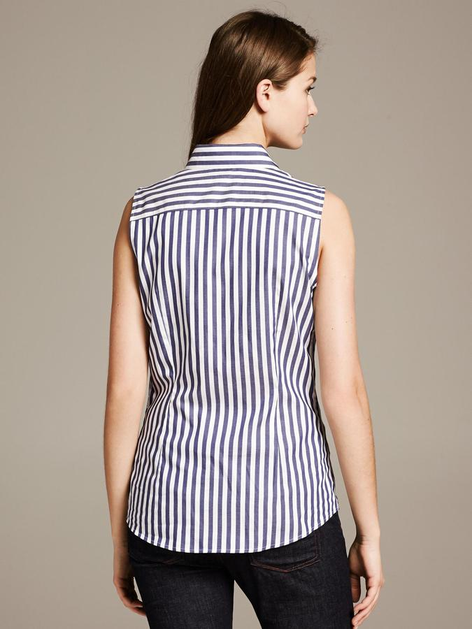Banana Republic Fitted Non-Iron Striped Sleeveless Shirt
