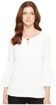 Calvin Klein Flutter Sleeve Top with Hardware Women's Clothing