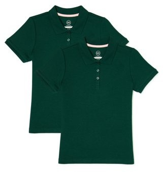 Wonder Nation Toddler Girls School Uniform Short Sleeve Interlock Polo Shirt, 2-Pack Value Bundle