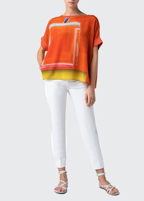 Akris Printed Silk & Knit Tunic Top
