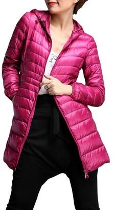 Mingfa.Y Women Ladies Lightweight Long Hooded Down Jacket Overcoat Oversized Mingfa Winter Warm Thin Packable Parka Coat (5XL