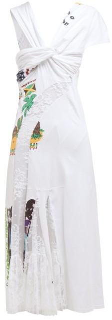 Marine Serre Floral Lace Panel Cotton-jersey T-shirt Midi Dress - White Multi