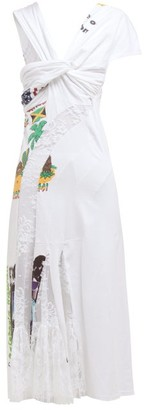 Marine Serre Floral Lace Panel Cotton Jersey T Shirt Midi Dress - Womens - White Multi