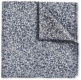 Charles Tyrwhitt White and Blue End-On-End Luxury Silk Pocket Square