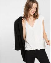 Express crochet-trim short sleeve v neck top