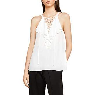 BCBGMAXAZRIA Women's Lace-up Ruffle Tank Top