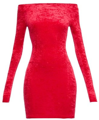 Balenciaga Off-the-shoulder Velvet Mini Skort Dress - Red